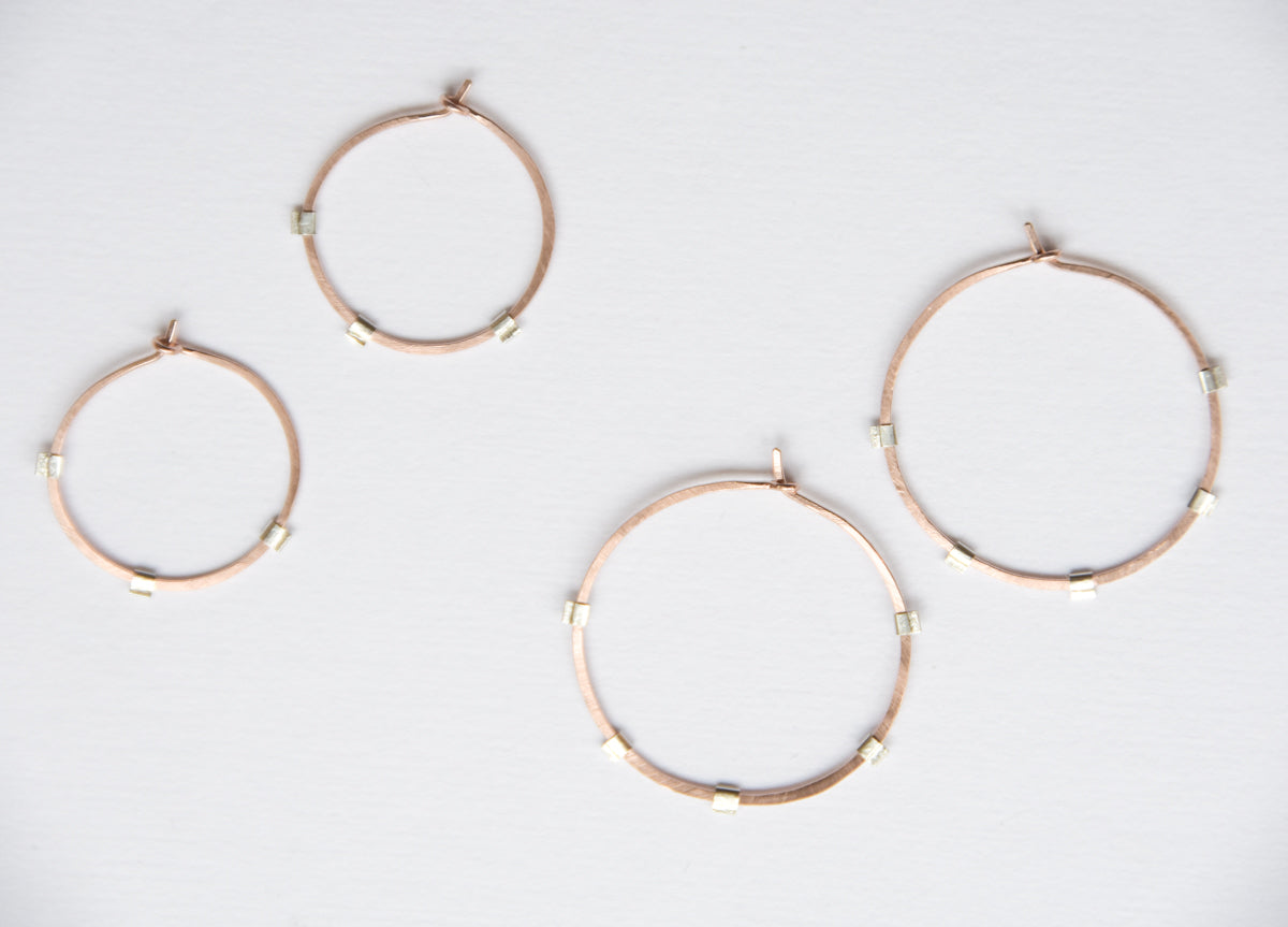 Sunburst Hoops - 14K Rose Gold-Filled & Sterling Silver