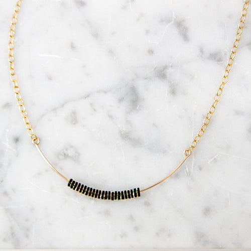 Tiny gold chain necklace with black beads, gold bar necklace with black details, Handmade gold layering necklace