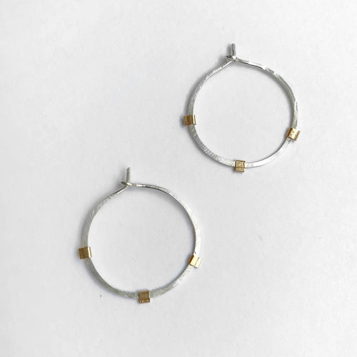 Sunburst Hoops - Sterling Silver Gold Beams
