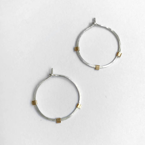Medium Aura Hoops - Sterling Silver - Pink