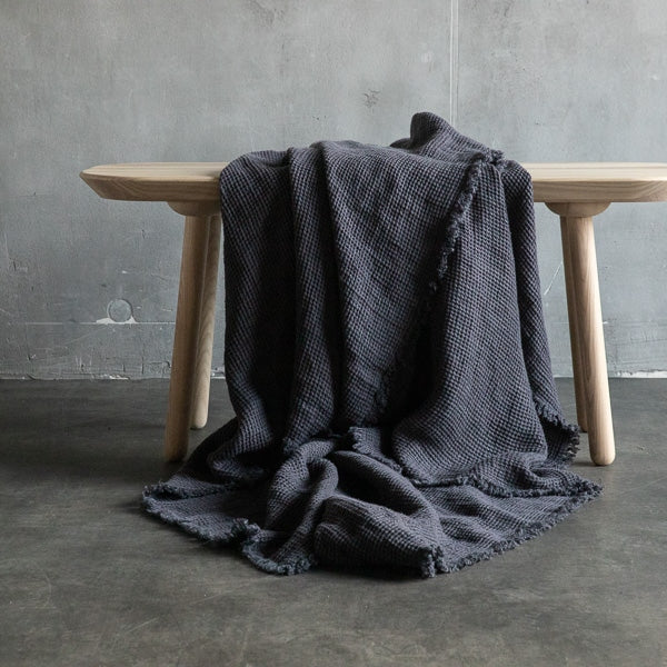 Linen Washed Waffle Throw with Fringes - Grey - Available in various colors - house of lolo