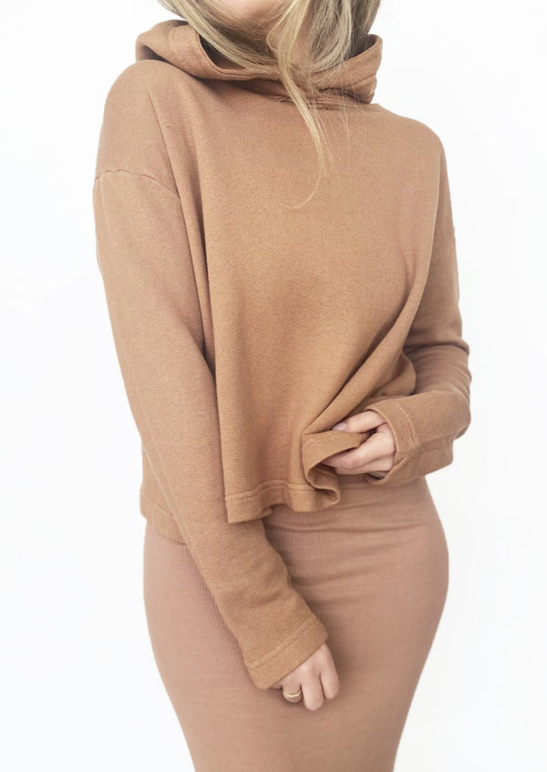 Cropped Hoodie - Pecan - house of lolo