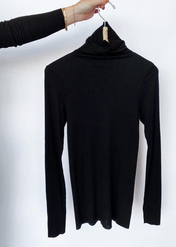 Silk Cashmere Rib L/S Turtleneck - Espresso - house of lolo
