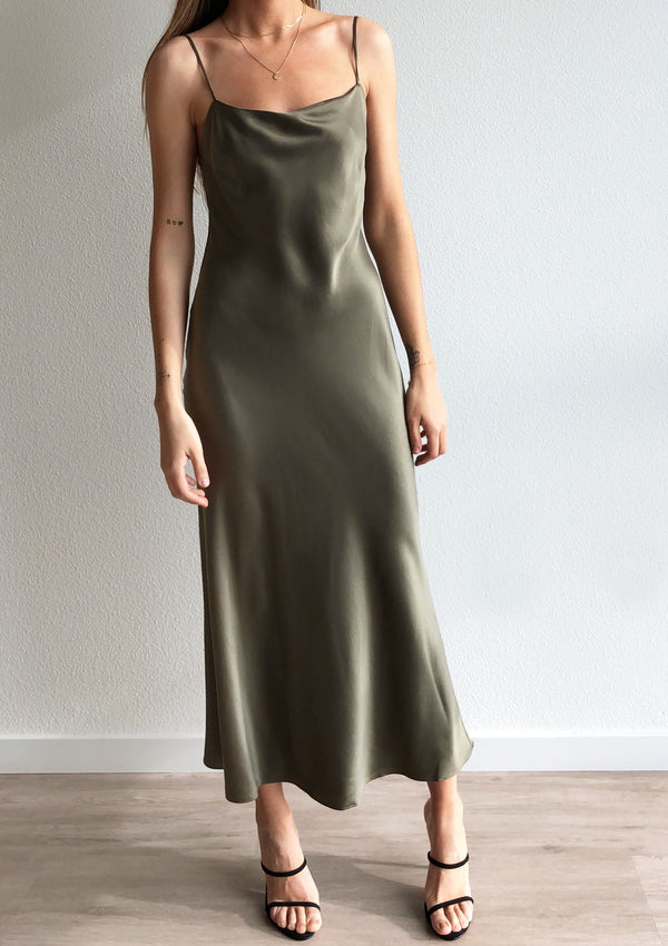 Classic Silk Midi Dress - Khaki - house of lolo