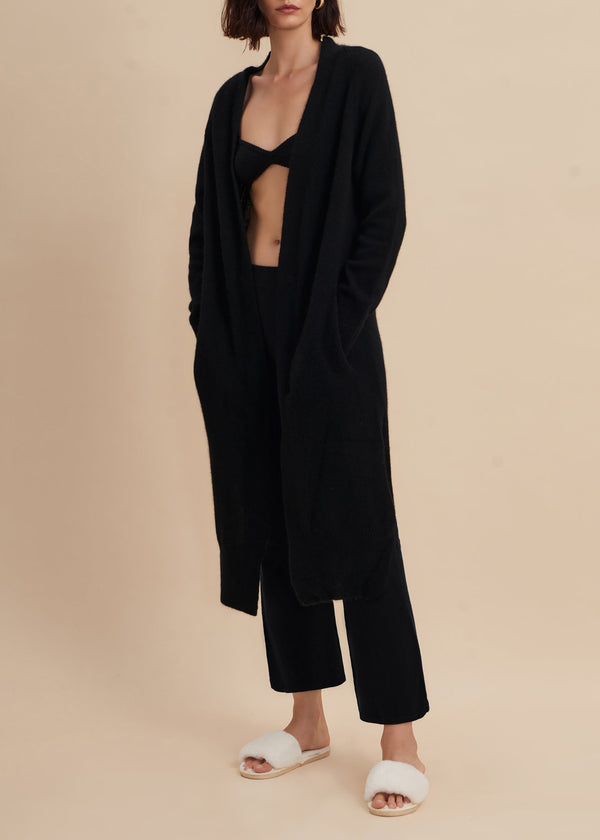 Maya Cashmere Midi Cardigan - Black - house of lolo