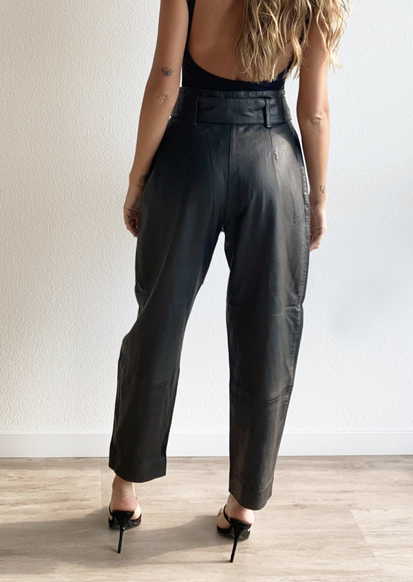Pleated Leather Pants - house of lolo