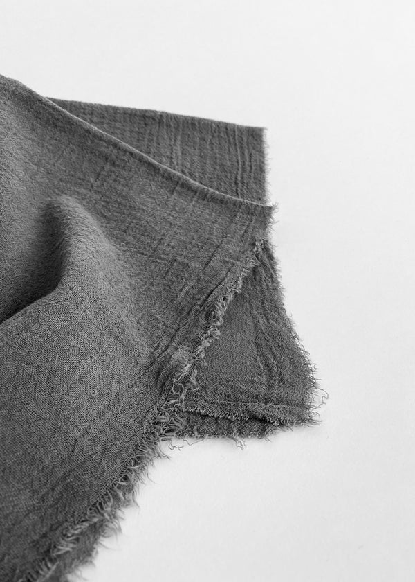Linen Plant Dyed Bandana - Charcoal Cotton Gauze - house of lolo