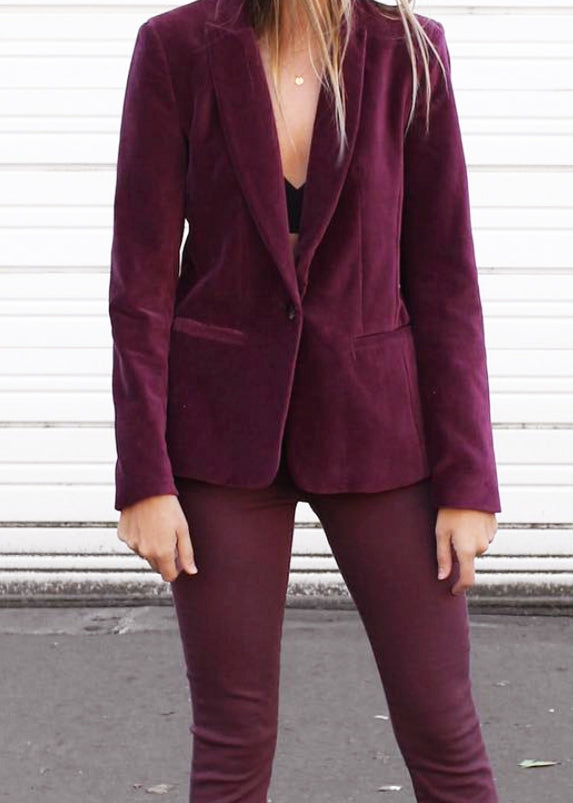 Carla Velvet Jacket - Merlot - house of lolo