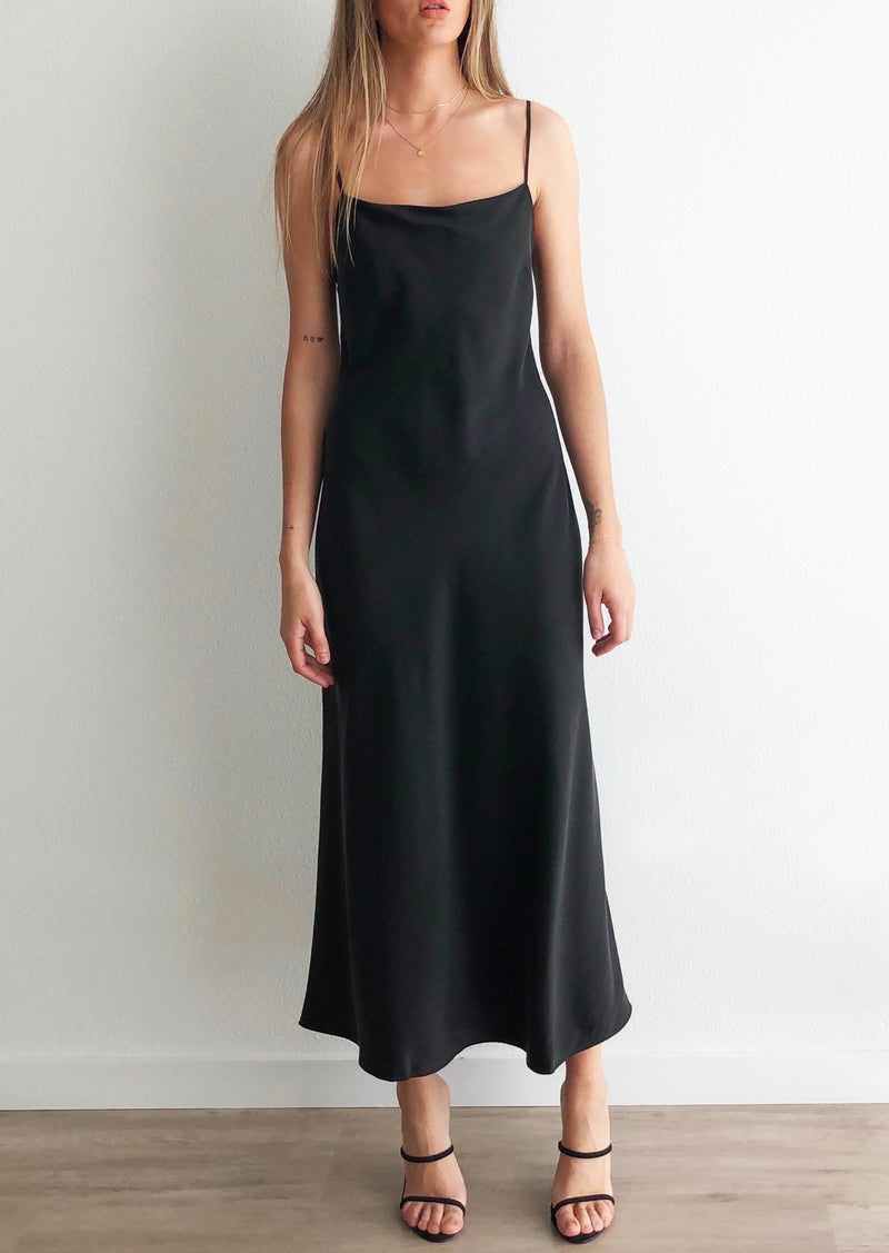 Classic Silk Midi Dress - Black - house of lolo