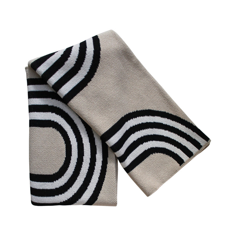 78th Street Black/Linen Recycled Cotton Throw - house of lolo