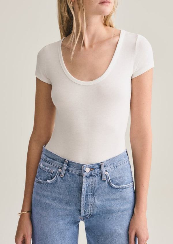 Short Sleeve Rib Bodysuit - White - house of lolo