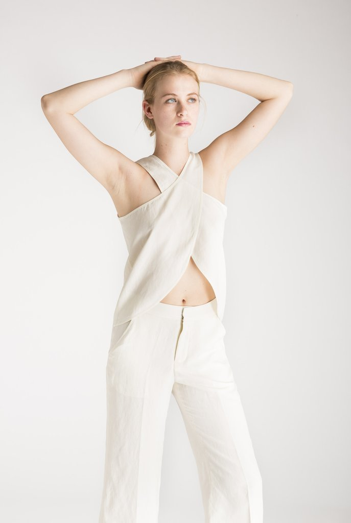 Silk Linen Cross Top - house of lolo