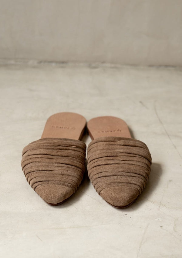 Sloan Suede Slides Nude - house of lolo