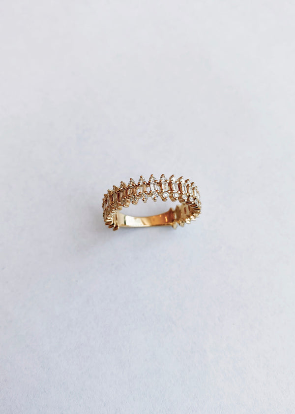 Baguette Fence Ring 14k Gold - house of lolo