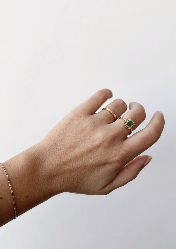 Linnea Emerald Baguette Burst Ring - house of lolo