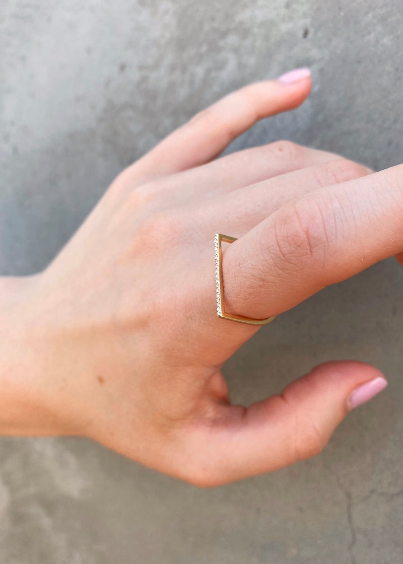 Thin Diamond Bar Stack Ring - house of lolo