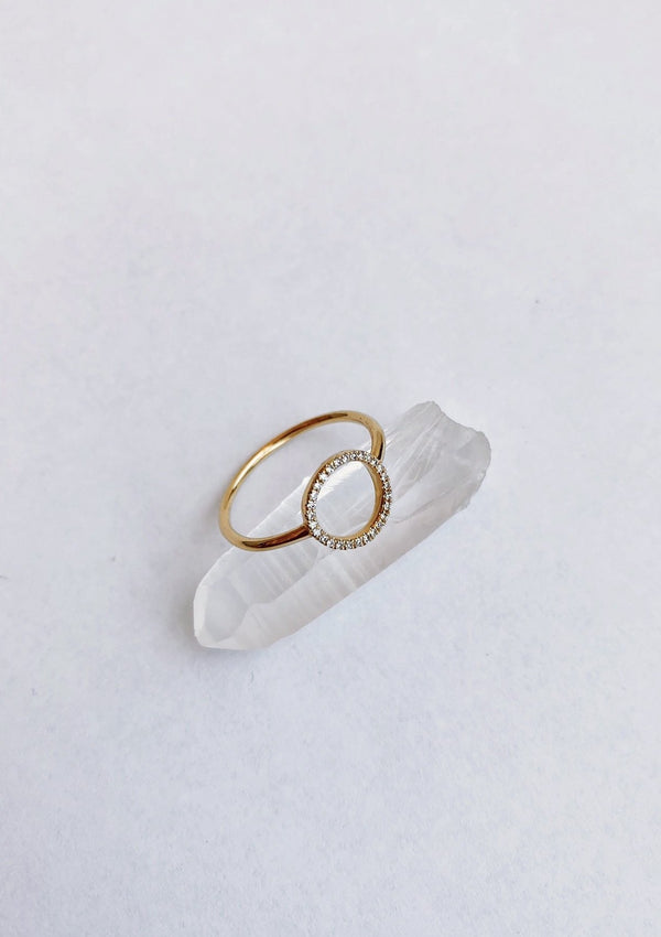 Venus Ring Open Pave Diamond Circle - house of lolo