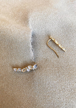 Lela Crawlers Moonstone and Rose Cut diamonds - house of lolo