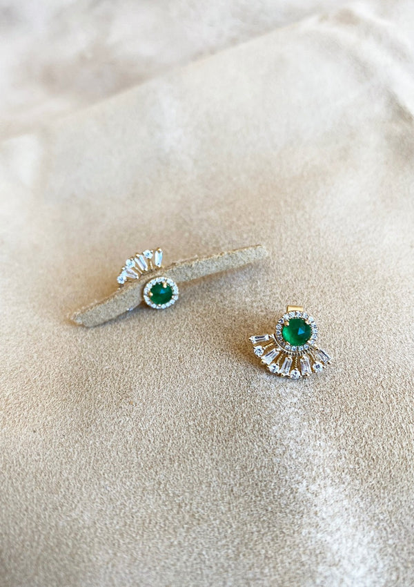 Emerald Fan Studs  |  2 for 1