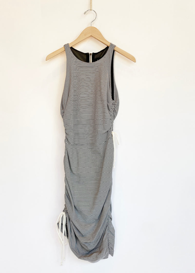 Pencil Stripe Drawstring Dress - house of lolo