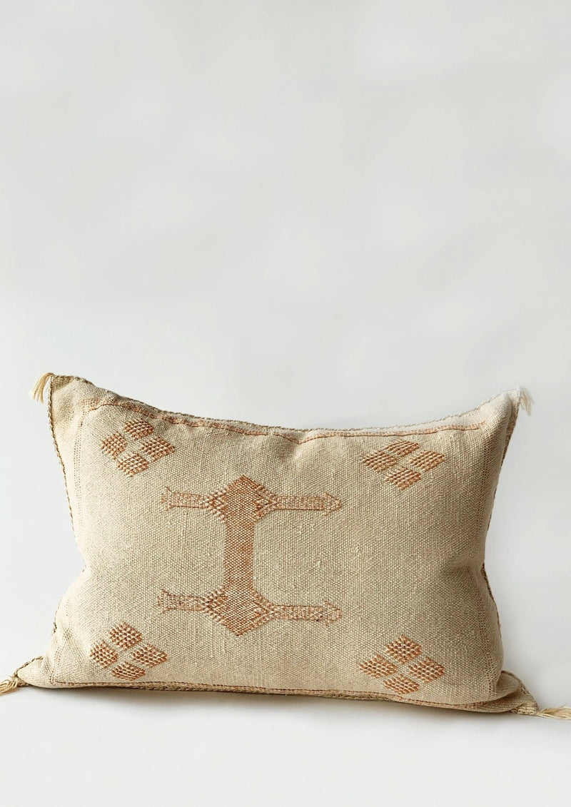 Cream Cactus Silk Pillow Cover Lumbar - house of lolo