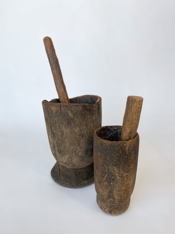Medium Antique Wooden Mortar and Pestle Set - house of lolo