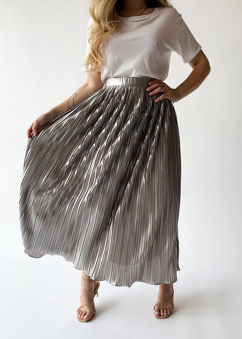 Metallic Plisse Skirt - house of lolo