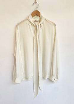 Tie Neck Silk Blouse - Ivory - house of lolo