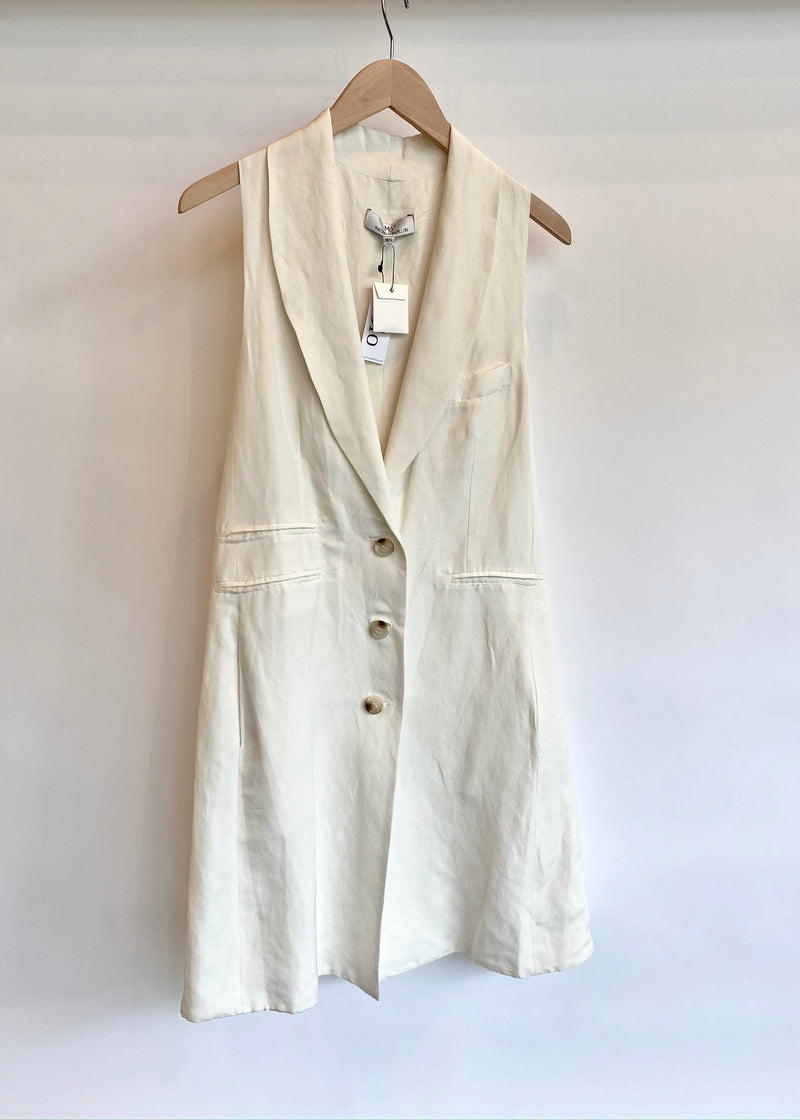 Nina Oversized Silk Linen Vest - house of lolo