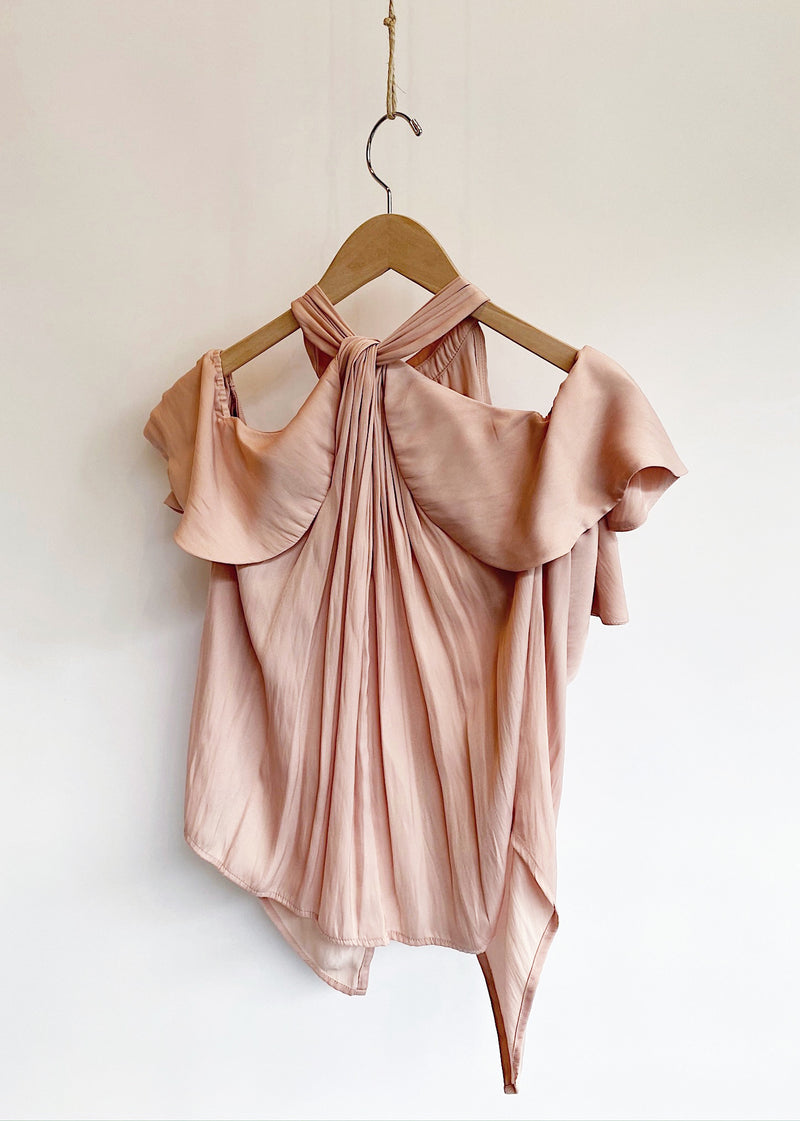 Look Twice Cold Shoulder Top - Blush - house of lolo