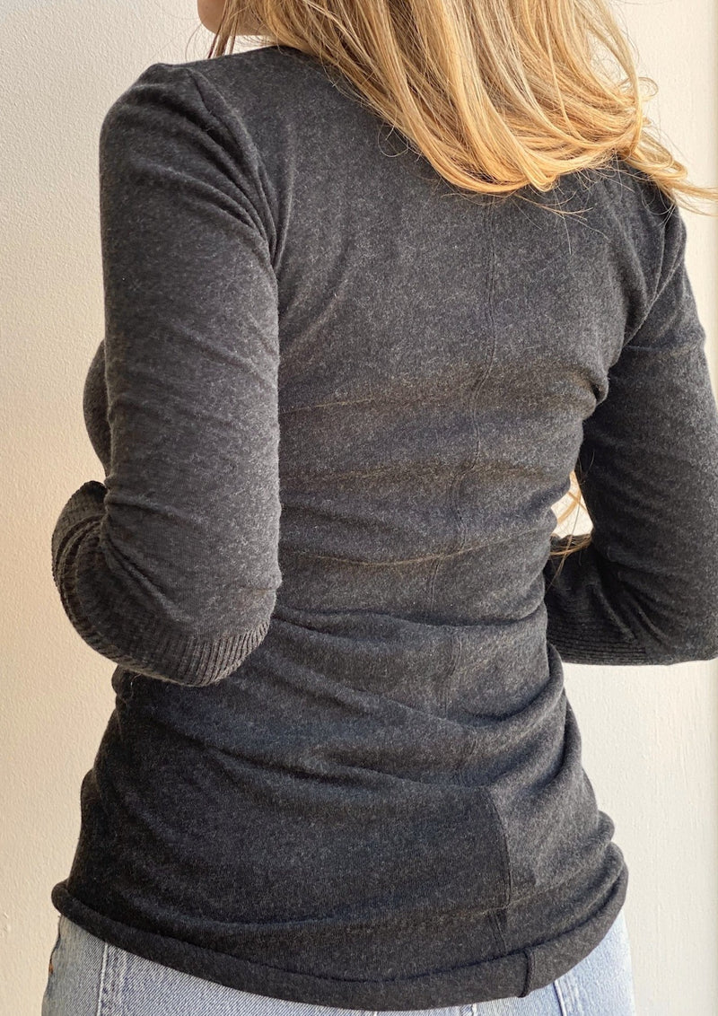 Contrast Crew Neck Sweater - Charcoal - house of lolo
