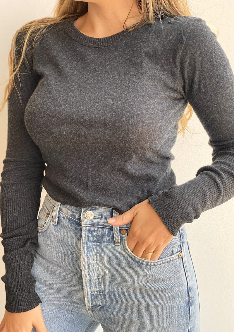 Cashmere Cuffed Crew Neck Sweater - Charcoal - house of lolo