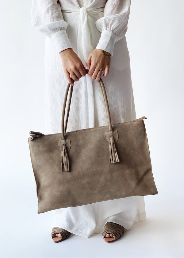 Suede Tote - house of lolo