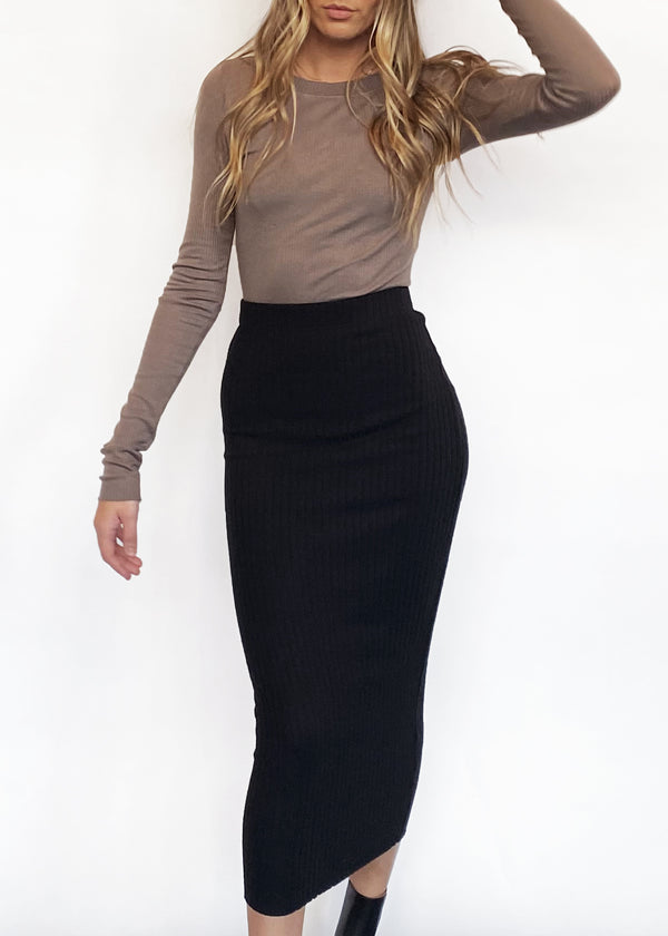 Sweater Rib Pencil Skirt - Black - house of lolo