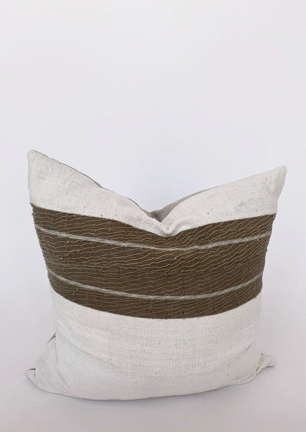 Vintage Ivory Taupe Stripe Pillow 26x26 - house of lolo