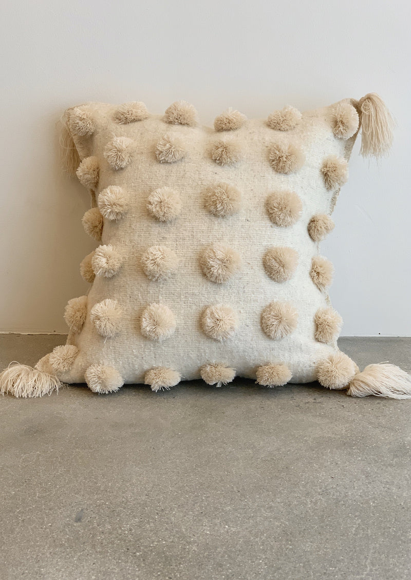 Pom Pom Pillow - Cream on Cream - house of lolo