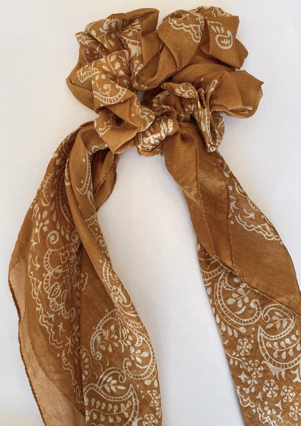 Paisley Garden Bandana Scrunchie - Wheat - house of lolo