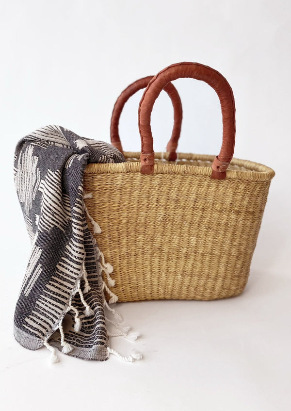 Ghana Shopper Straw Basket - house of lolo