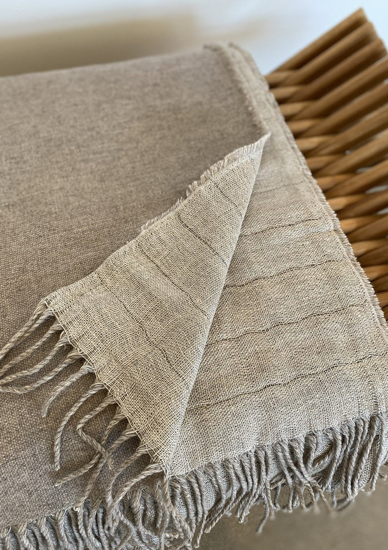 Linen / Merino Wool Reversible Throw - Linen - house of lolo