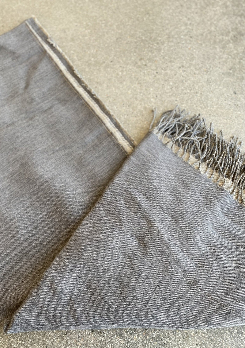 Linen / Merino Wool Reversible Throw - Grey - house of lolo