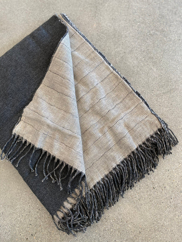 Linen / Merino Wool Reversible Throw - Charcoal - house of lolo