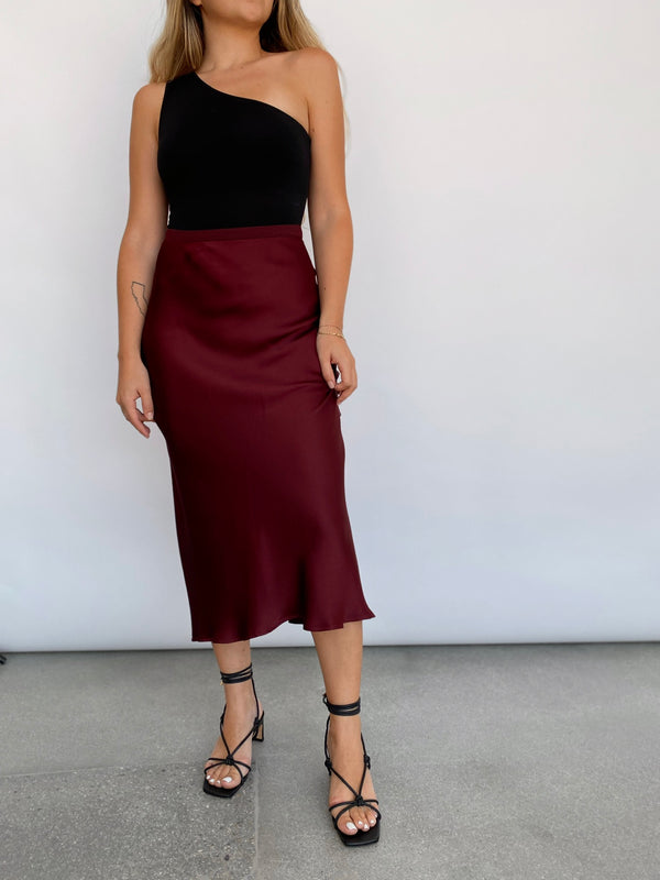 Bar Silk Skirt - Burgundy - house of lolo