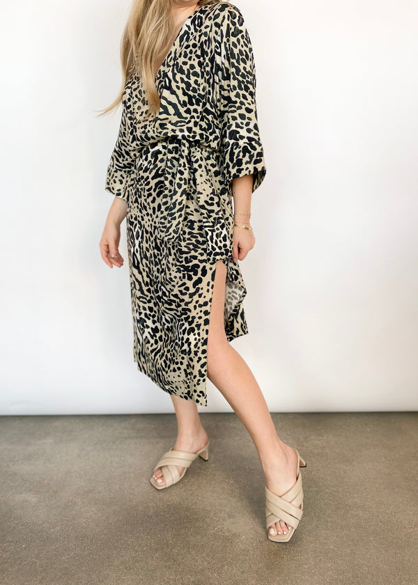 Drop Waist Kimono Dress - Leopard - house of lolo