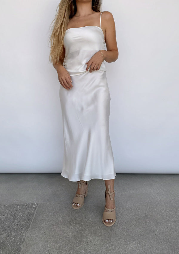 Classic Silk Midi Skirt - Ivory - house of lolo