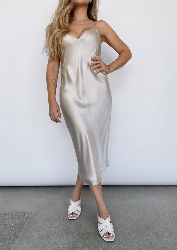 Jodie V Neck Slip Dress - Champagne - house of lolo