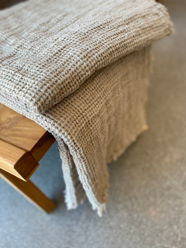 Linen Washed Waffle Throw with Fringes - Natural - Available in various colors - house of lolo