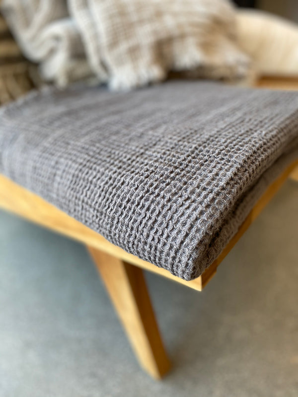 Linen Washed Waffle Throw with Fringes - Steel Grey - Available in various colors - house of lolo