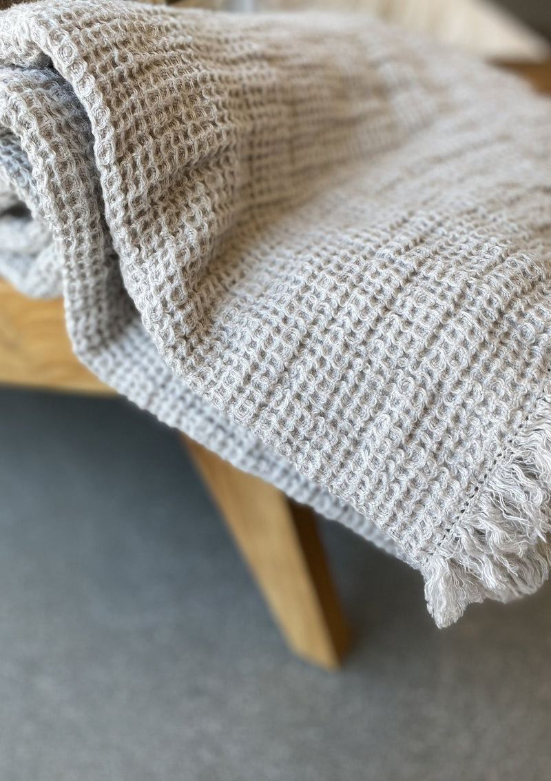 Linen Washed Waffle Throw with Fringes - Silver - Available in various colors - house of lolo