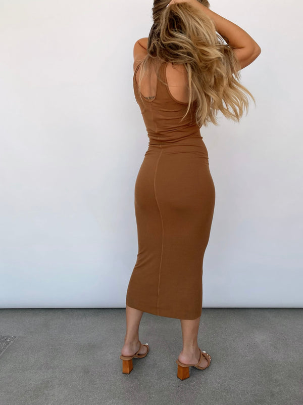 Silk Rib Tank Dress - Danish Brown - Available in various colors - house of lolo