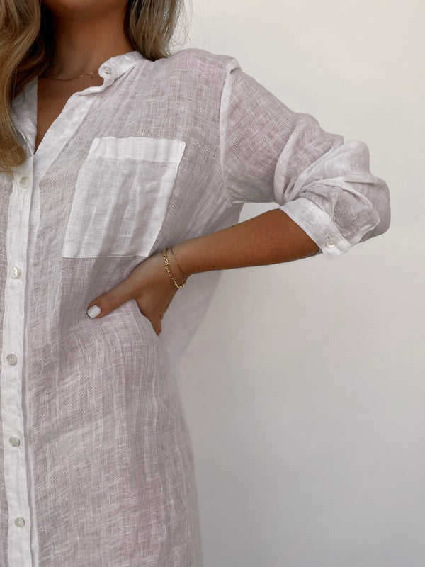 Linen Gauze Shirt Dress - White - Available in various colors - house of lolo